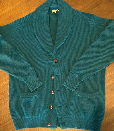 Paul Stuart green shawl cardigan.jpg